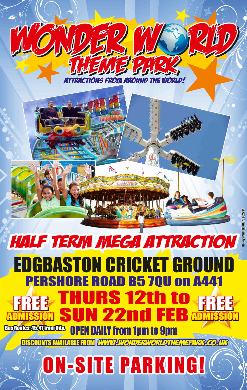 Edgbaston Cricket Ground Thursday 12th Feb to Sunday 22nd Feb 2015